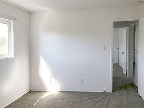 2 bedroom floorplan, bedroom & hallway