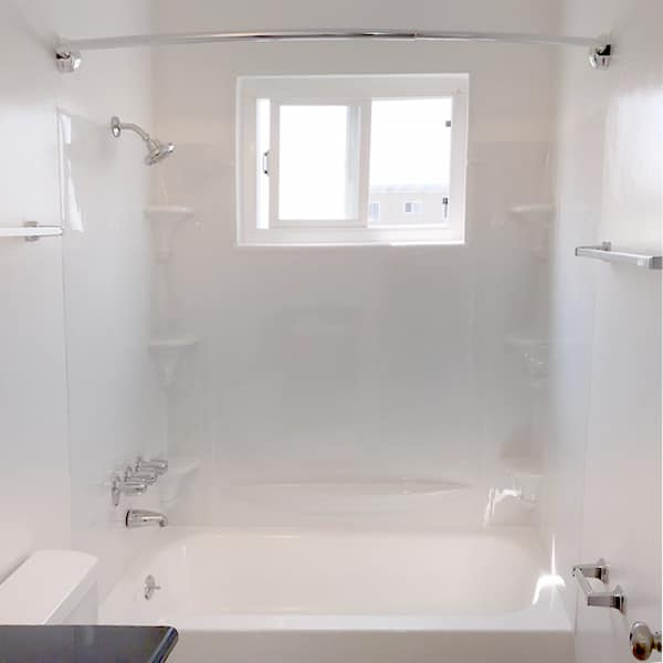 Shower with rainfall shower head, curved rod, & upgraded tub surround