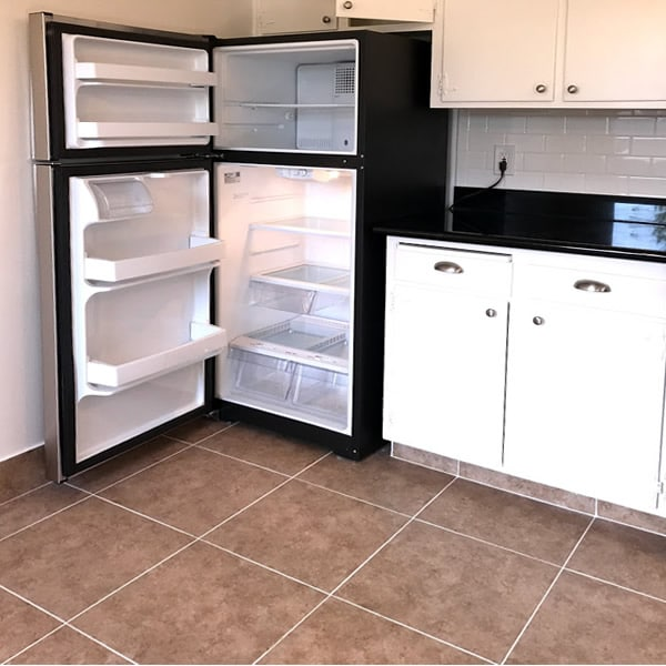 2 bedroom floorplan, stainless refrigerator upgrade