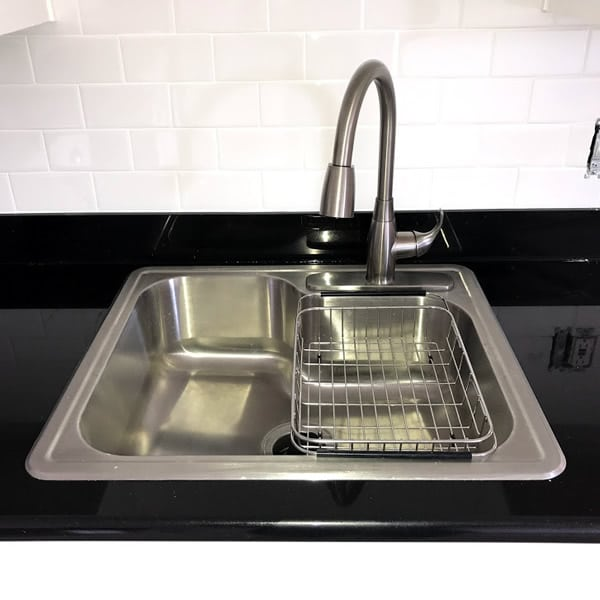 Stainless kitchen sink upgrade with pull down faucet & strainer